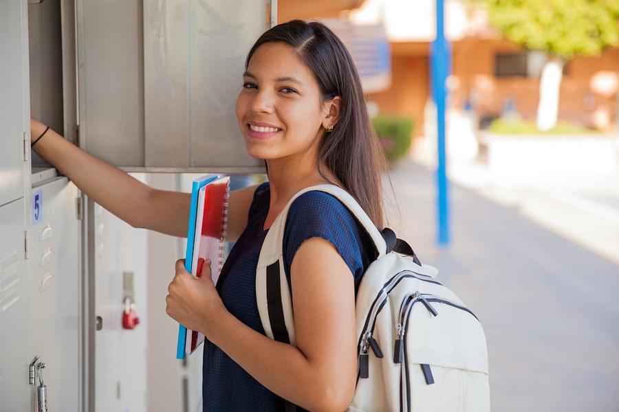 High school junior at her locker