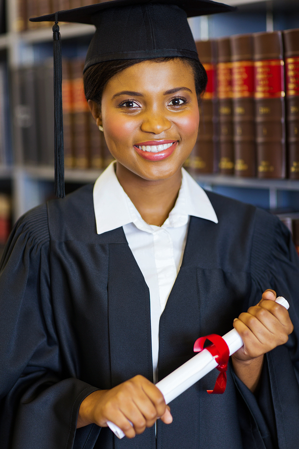 Young woman graduating from law school