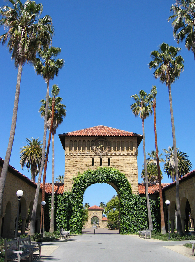 Archway entrance to Stanford University in Palo Alto, CA